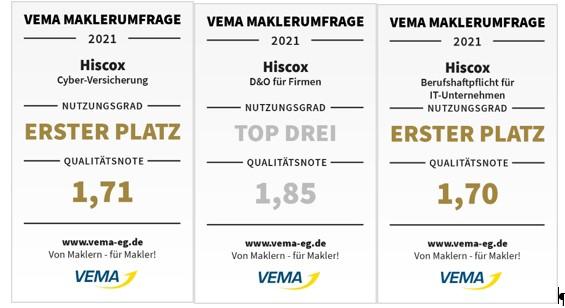 Hiscox Cyber Clear, D&O by Hiscox und Net IT by Hiscox erhalten VEMA Qualitätssiegel 1